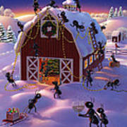 Christmas Decorator Ants Poster by Robin Moline