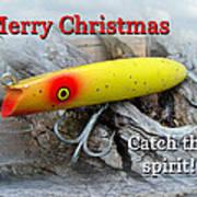 Christmas Greeting Card - Gibbs Darter Vintage Fishing Lure Poster