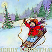 Christmas Joy Child On Sled Poster