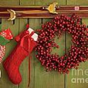 Christmas Stockings And Wreath Hanging On  Wall Poster