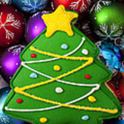 Christmas Tree Cookie With Ornaments Poster