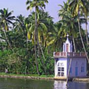 Church Located On A Coastal Lagoon In Kerala In India Poster