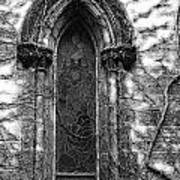 Church Window And Vines Bw Poster