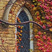 Church Window Autumn Poster