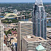 Cincinnati Panorama Aerial Skyline Downtown City Buildings Poster by Paul Velgos
