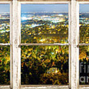 City Lights White Rustic Picture Window Frame Photo Art View Poster