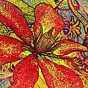 Clematis In Colored Pencil  Poster