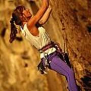 Climber Heidi Badaracco Leads A Route Poster