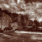 Clinton Red Mill House Sepia Poster