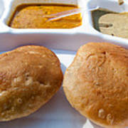 Close Up Of A Plate Of Indian Food Delicacy Kachori With Sabzi And Chutney Poster