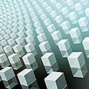 Close-up Of Cubes On Black And Blue Poster by Ralf Hiemisch