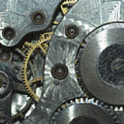 Close-up View Of Complex Clockwork Poster