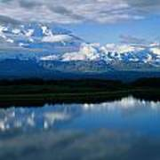 Cloud-enshrouded Mt. Mckinley Reflected Poster
