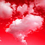 Clouds With Red Sky Poster
