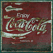 Coca Cola Green Red Grunge Sign Poster