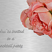 Cocktail Party Invitation - Fabric Rose Poster