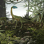 Coelophysis Dinosaurs Walk Amongst Poster