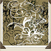Coffee Flowers 1 Olive Scrapbook Poster