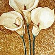 Coffee Painting - Flowers Poster by Rejeena Niaz