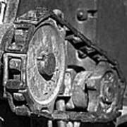Cog And Chain In Rust Black And White Poster