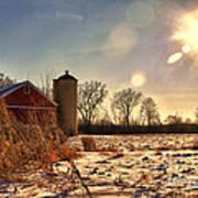 Cold Winter Barn Poster