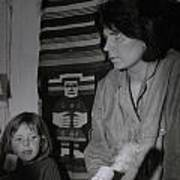 Colette With Mamma Chris In Their Ice Kiosk In Denmark At The Time  Poster
