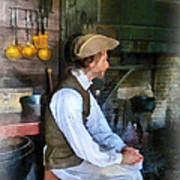 Colonial Man In Kitchen Poster