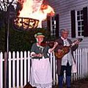 Colonial Musicians By Firelight Poster