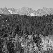 Colorado Rocky Mountain Continental Divide View Bw Poster
