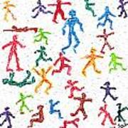 Colorful Acrylic Stickmen Characters Poster