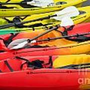 Colorful Canoes Poster