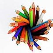 Colorful Crayons In Jar Poster