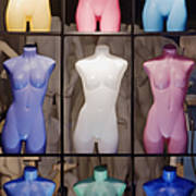 Colorful Mannequins In Store Window Poster