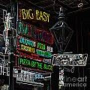 Colorful Neon Sign On Bourbon Street Corner French Quarter New Orleans Glowing Edges Digital Art Poster