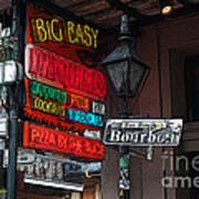 Colorful Neon Sign On Bourbon Street Corner French Quarter New Orleans Poster Edges Digital Art Poster