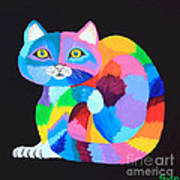 Colorful Rainbow Cat Poster