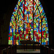 Colorful Stained Glass Chapel Window Poster