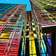 Colors In The City With Clouds Poster