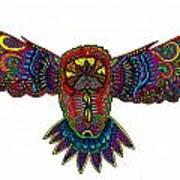 Coloured Owl Poster by Karen Elzinga
