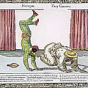 Commedia Delarte, 18th C Poster