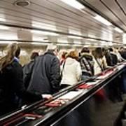 Commuters On Escalators In Prague Metro Poster