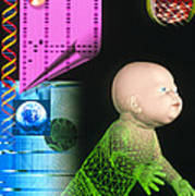 Computer Artwork Depicting Genetic Screening Poster