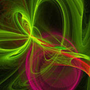 Computer Generated Green Magenta Abstract Fractal Modern Art Poster