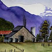 Concrete Barn Watercolor Poster