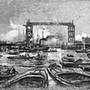 Construction Of Tower Bridge, 1890s Poster