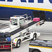 Conveyor Unloading Luggage Poster
