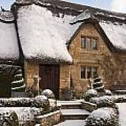 Cotswolds Cottage Covered In Snow Poster
