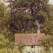 Cottage Near Brook  Poster