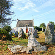 Cottage With Standing Stones Poster