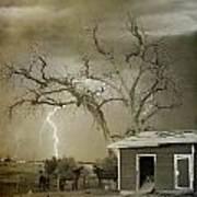 Country Horses Lightning Storm Ne Boulder Co 66v Bw Art Poster